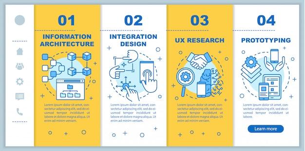 Architektura informacji onboarding mobilnych stron internetowych szablon. responsywny pomysł na interfejs smartfona z liniowymi ilustracjami. ekrany kroków krok po kroku na stronie internetowej. koncepcja kolorów