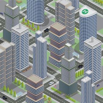 Architektura izometryczna. miasto biznesu pejzaż z scyscrapers. transport izometryczny.