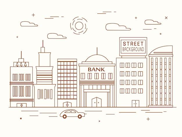 Architektura miasta w płaskiej konstrukcji cienkiej linii