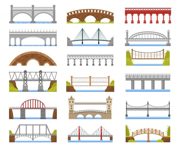 Architektura mostu. zestaw ilustracji miejskiego mostu rzecznego, łuku, mostów wantowych, belkowych i wiszących. most łukowy, kolekcja konstrukcji architektonicznych