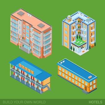 Architektura nowoczesne miasto budynki hotelowe zestaw ikon płaska 3d izometryczna ilustracja sieci web. dom apartamentowy, hotel, motel przy ulicy. zbuduj własną kolekcję infografik internetowych ze świata