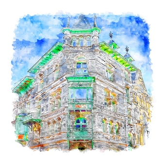 Architektura paryż akwarela szkic ręcznie rysowane