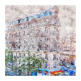 Architektura paryż francja szkic akwarela ręcznie rysowane ilustracja