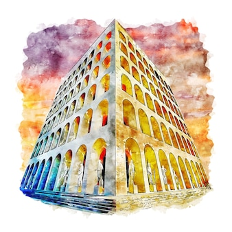 Architektura roma włochy szkic akwarela ręcznie rysowane ilustracja