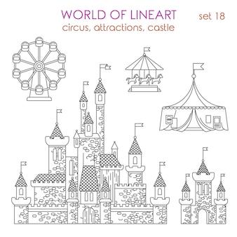 Architektura rozrywka budynek atrakcje cyrkowe zamek teatr diabelski młyn al lineart set. świat kolekcji grafiki liniowej.