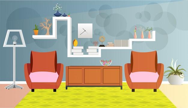 Architektura salonu z lampą podłogową i sofą.