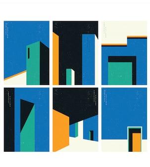 Architektura streszczenie ilustracja. kształt geometryczny z ilustracją konstrukcji.