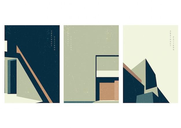 Architektura szablon z grunge tekstur. budowanie tła z przestrzenią miasta w geometrycznym stylu.