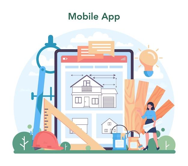 Architektura usługi lub platformy online. idea projektu budowlanego i robót budowlanych. branża budowlana. aplikacja mobilna. płaska ilustracja wektorowa