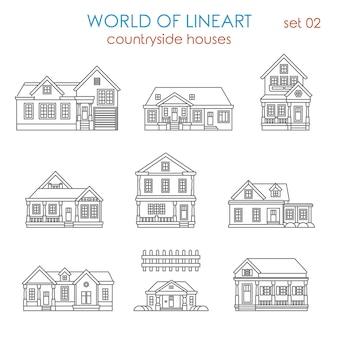 Architektura wiejska kamienica al lineart zestaw. świat kolekcji grafiki liniowej.