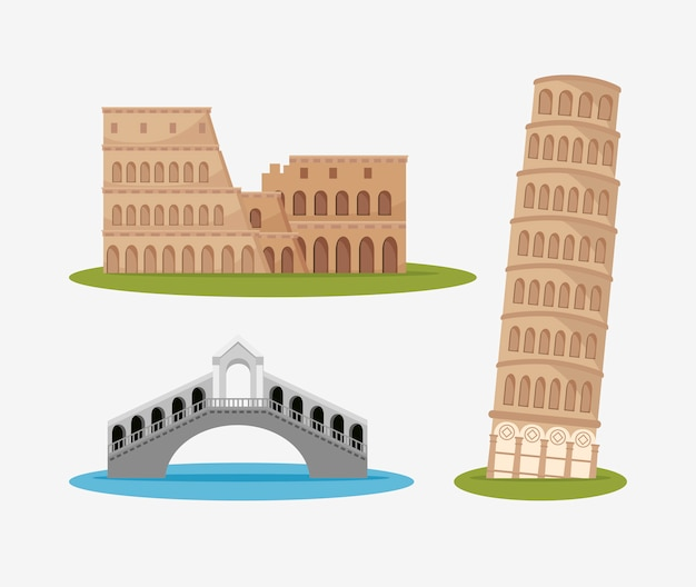 Architektura włoska kultura na białym tle