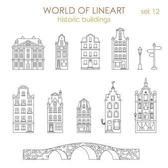 Architektura zabytkowych starych budynków al lineart style zestaw.
