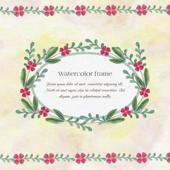 Archiwalne akwarela kwiatu ramki z typografii