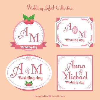 Archiwalne etykiety weselne w różnych kształtach