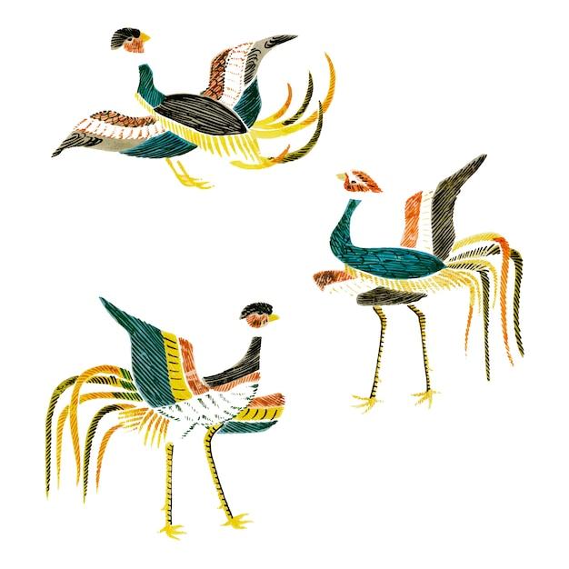 Archiwalne ilustracji kompilacji japońskich żurawi