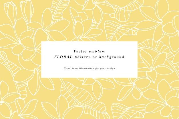 Archiwalne karty z kwiatami plumeria z projektami etykiet