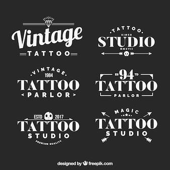 Archiwalne kolekcja logo tatuaż