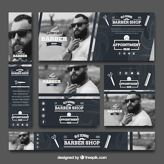 Archiwalne kolekcji barbershop transparentu