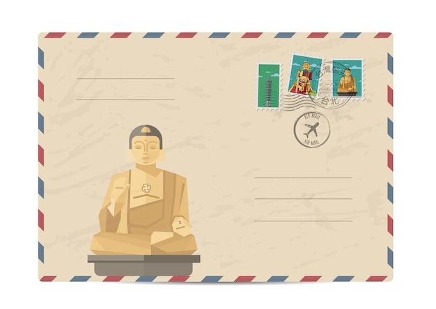 Archiwalne koperty pocztowe z tajwańskimi znaczkami