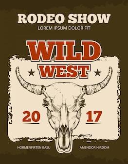 Archiwalne kowbojskie rodeo show wektor wydarzenie plakat