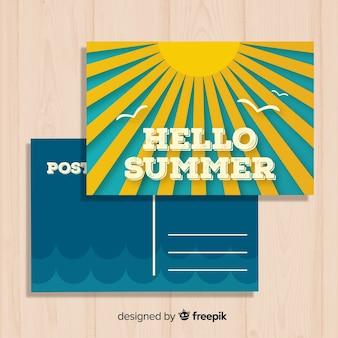 Archiwalne letnie wakacje szablon pocztówki