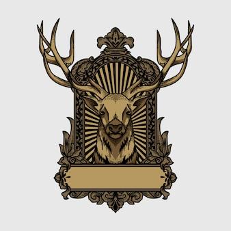 Archiwalne logo i koszulka z motywem jelenia w kwiatowy ornament ramowy