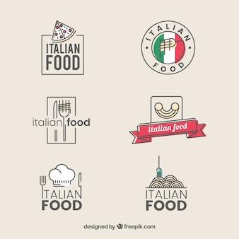 Archiwalne logo restauracji kolekcji włoski