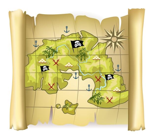 Archiwalne mapy piratów lub mapa skarbów z wyspą i różą wiatrów