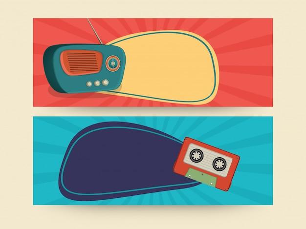 Archiwalne nagłówka witryny sieci web lub zestaw transparentu z ilustracją kasety radiowej i audio.