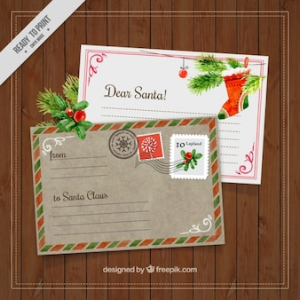 Archiwalne pocztówki świąteczne akwarelowe