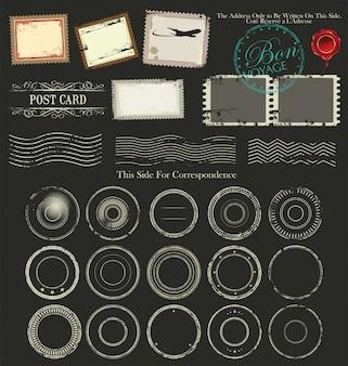 Archiwalne projekty pocztówek i elementy pocztowe
