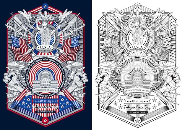 Archiwalne ramki szczęśliwy czwartego dnia niepodległości lipca stanów zjednoczonych ameryki