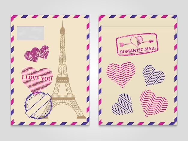 Archiwalne romantyczne koperty z wieżą eiffla i znaczkami miłości