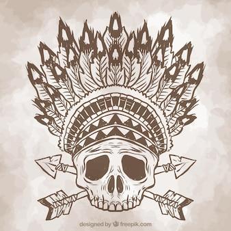 Archiwalne szkic czaszki z piór