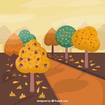 Archiwalne tła drogowego z odbarwieniem drzew