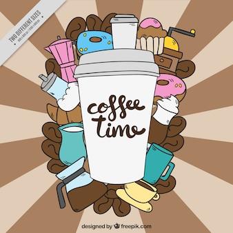 Archiwalne tła z kawą na wynos i inne elementy