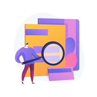 Archiwum online, baza dokumentów, przechowywanie danych. wyszukiwanie informacji, dostęp do akt osobowych. podstawowy użytkownik z postacią z kreskówki lupy. ilustracja wektorowa na białym tle koncepcja metafora.