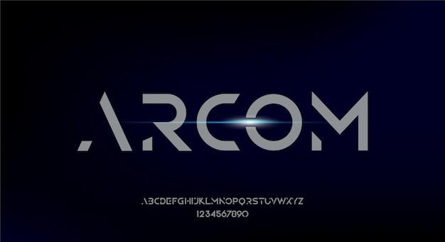 Arcom, abstrakcyjna, futurystyczna czcionka alfabetu z motywem technologicznym. nowoczesny minimalistyczny projekt typografii
