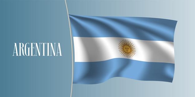 Argentyna macha flagą ilustracji