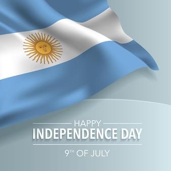 Argentyna szczęśliwy dzień niepodległości kartkę z życzeniami, baner, ilustracji wektorowych. argentyńskie święto narodowe 9 lipca tło z elementami flagi, format kwadratowy
