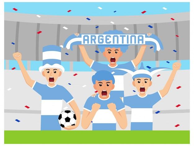 Argentyńscy kibice w płaskiej konstrukcji