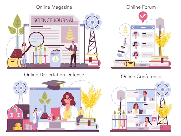 Argonomistyczna usługa internetowa lub zestaw platform. naukowiec prowadzący badania w rolnictwie.