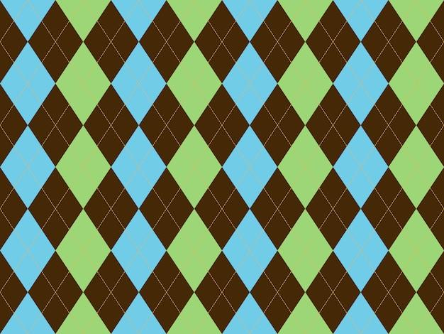 Argyle brązowy zielony niebieski wzór