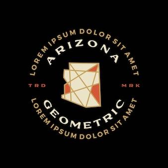 Arizona mapa geometryczna odznaka t shirt tee merch logo wektor ikona ilustracja