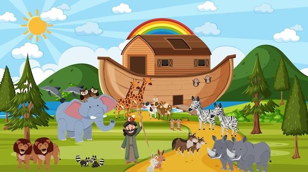 Arka noego z dzikimi zwierzętami w scenie natury