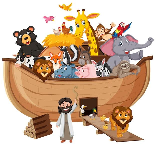 Arka noego ze zwierzętami na białym tle