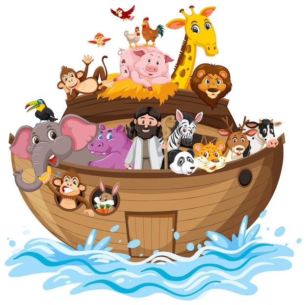 Arka noego ze zwierzętami na fali wody na białym tle