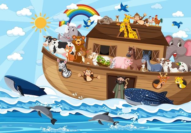 Arka noego ze zwierzętami na scenie oceanu