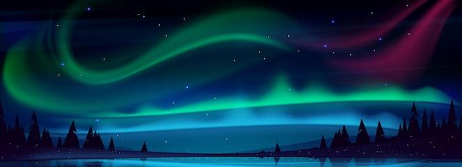Arktyczna zorza polarna nad nocnym jeziorem w rozgwieżdżonym niebie światła polarne naturalny krajobraz północne niesamowite opalizujące świecące faliste oświetlenie lśniące nad powierzchnią wody ilustracja kreskówka