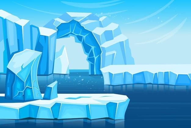 Arktyczny krajobraz z górami lodowymi i morzem lub oceanem. ilustracja kreskówka do gier i aplikacji mobilnych.